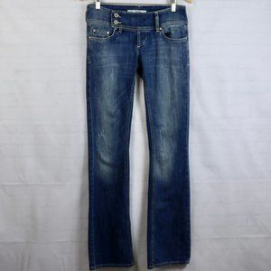 Zara TRF Denim Boot Low Wide Waist Band Jeans 6